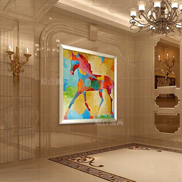 100% Handmade Oil Painting Abstract Decorative Hand-painted  Mural Paintings Of Horses Furnishing Restaurant oil painting