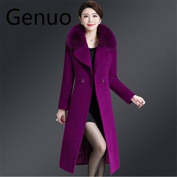 Woolen Coat Elegant Women Winter Thick Slim Big Size Faux Fur Collar Jacket Streetwear Korean Style Double Breasted Overcoat 5XL faux fur double breasted coat