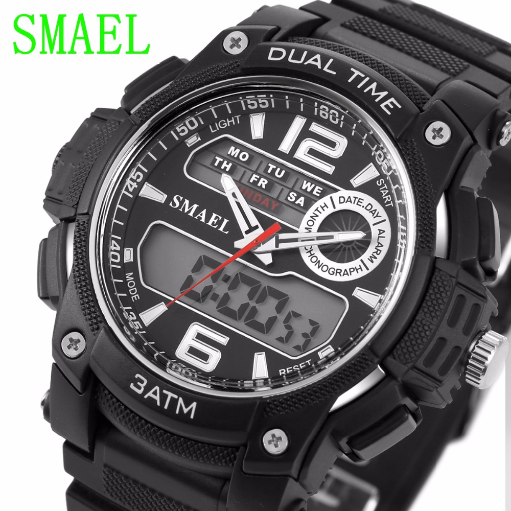 Watch Sports 1326 Big Dial Shock Military Sport Watches For Men PU Watch Strap Waterproof Dual Time Digital-Watch relojes hombre