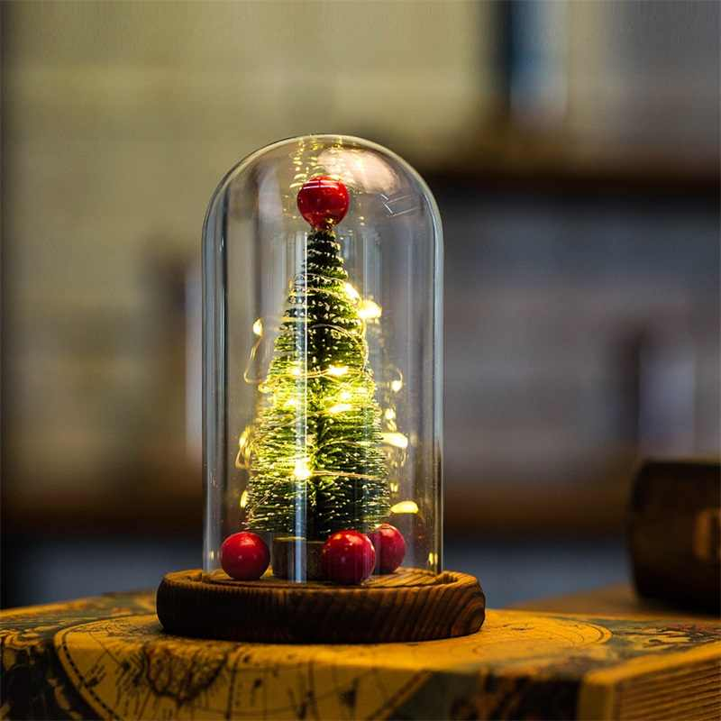 Artificial flowers glass cover wooden base simulation Christmas tree LED lamps home decoration creative Valentine Christmas gif