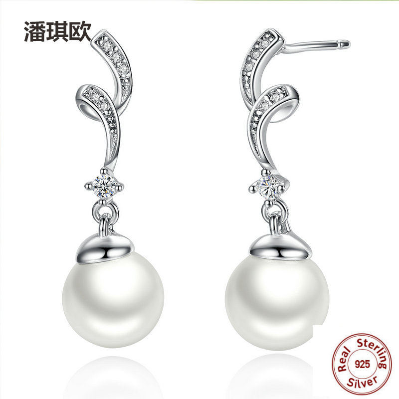 New Retro Authentic 925 Sterling Silver Simulated Pearl & Wave Drop Earrings For Women Compatible with pan Jewelery