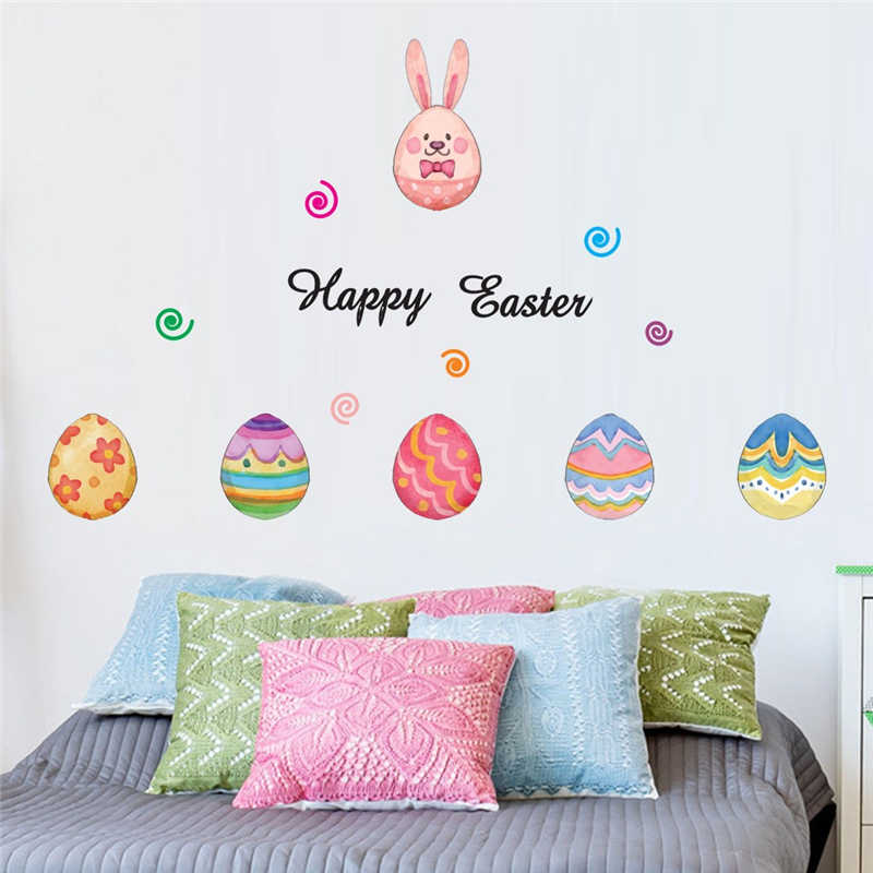 Removable Easter Eggs Wall Stickers  Children House Decoration Lovely kids room decoration Creative sticker mural-in Wall Stickers from Home & Garden
