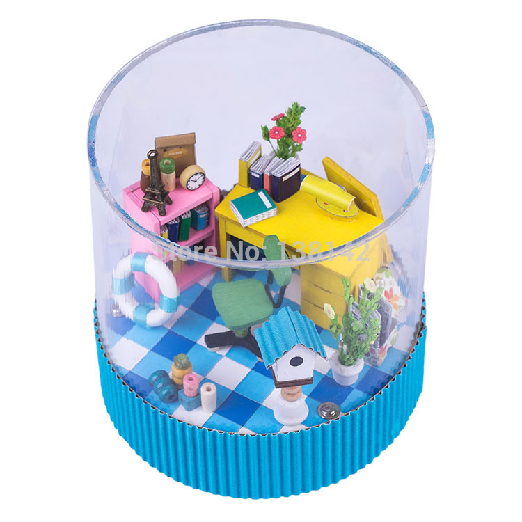 T002 Icy summer season diy picket dollhouse 360 diploma rotating Examine miniatures for adornment doll home led lights free delivery
