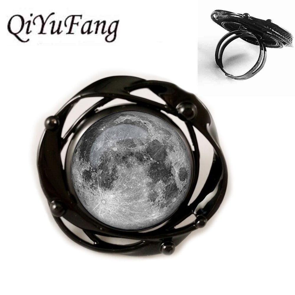 2018 New Nebula galaxy space Moon Flower Black Ring Pendant For Men Women Jewelry Children Friends Gift Gift Free Shipping