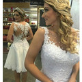 Bling Bling See Through Short 2017 Wedding Dress New Beads Crystal Handmade Appliques Custom Size Lace Bridal Gown Vestidos