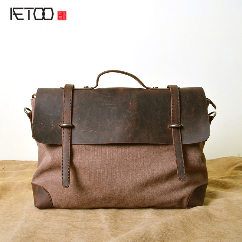 AETOO Canvas bag wholesale retro computer bag mad horse leather 20 canvas first layer of leather