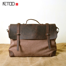 AETOO Canvas bag wholesale retro computer bag mad horse leather 20 canvas first layer of leather handbag
