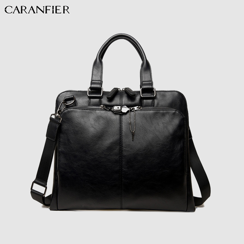 CARANFIER Mens Briefcase Casual PU Leather Solid Color Travel Bag Computer Shoulder Crossbody Business Office Document Handbags