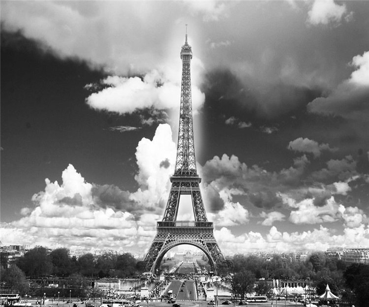 Vintage Wall Mural Wallpaper Eiffel Tower Photo Wallpaper Poster Room Decor  Murals Interior Art Decoration Bedroom Black White In Wallpapers From Home  ... Part 76