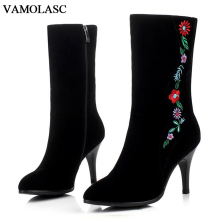 VAMOLASC New Women Autumn Winter Warm Faux Suede Mid Calf Boots Embroidery Thin Med Heel Boots Pointed Toe Zipper Women Shoes