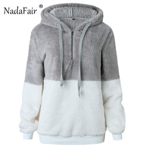 Nadafair Faux Fluffy Teddy Hooded Sweaters Women Drawstring Faux Fur  Pullover Jumpers Ladies Zipper Autumn Winter 4d74d1006