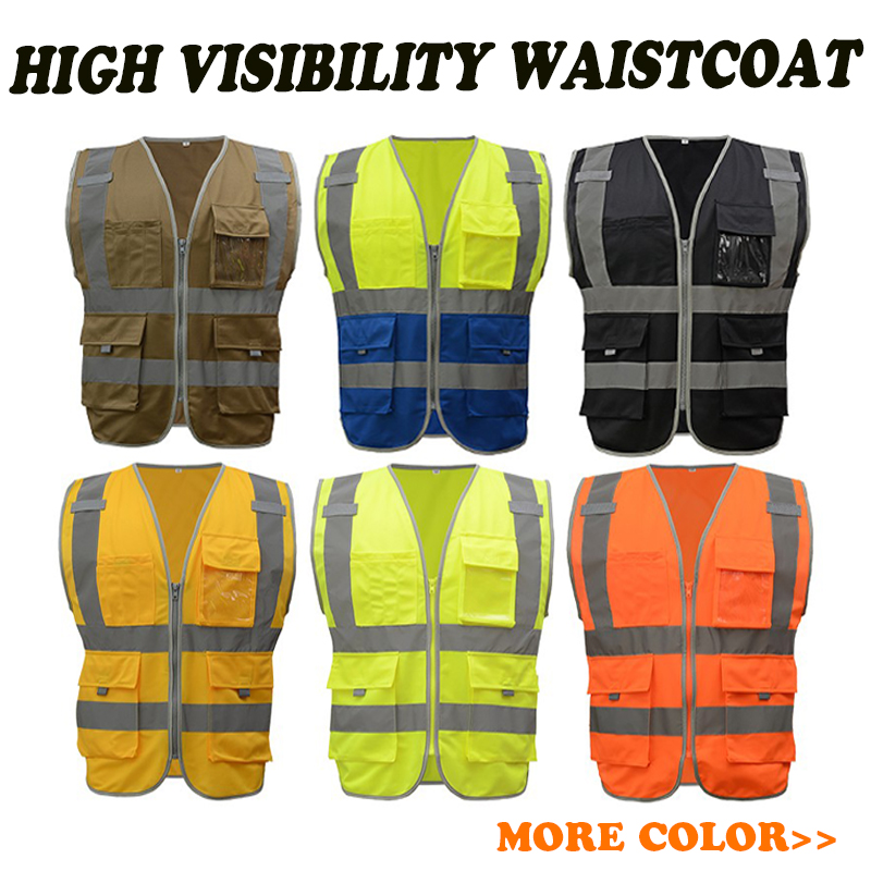SFvest brand mens reflective safety vest waistcoat silk print screen printing logo fluorescent yellow orange free shipping 2016 real top fashion safety construction reflective vest more than a single fluorescent green lattice safety vest zip pocket