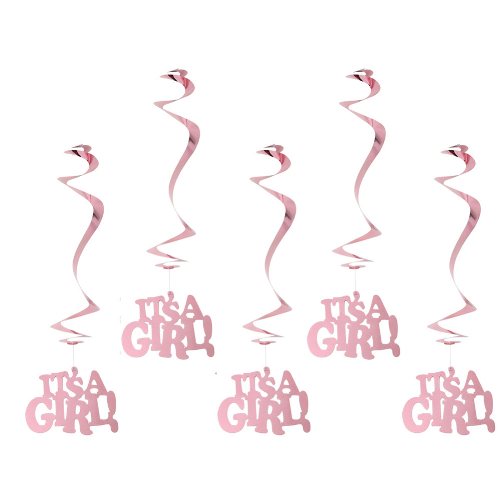 Pink Its A Girl Hanging Swirl Decorations Metalic Foil Danglers Spiral Mobiles Nursery Baby Shower Gender Reveal Decorations