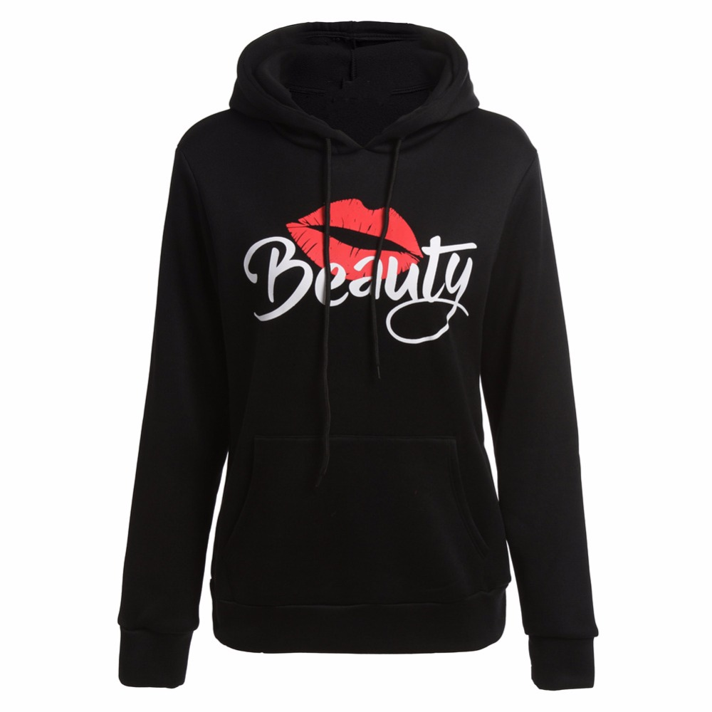 Jahurto Couple Hooded Sweatshirt BOW BEAST BEAUTY Printed Black Harajuku Women Men Hoodies Pullover Hipster Streetwear Tracksuit