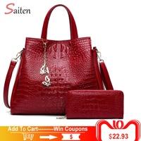 Fashion Crocodile Leather Handbags Women Shoulder Bags Solid Casual Tote Bag Ladies Large Capacity Hand Bag Women Sac A Main