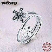 WOSTU Real 100 925 Sterling Silver Sweet Flower Talks Clear CZ Open Finger Rings For Women