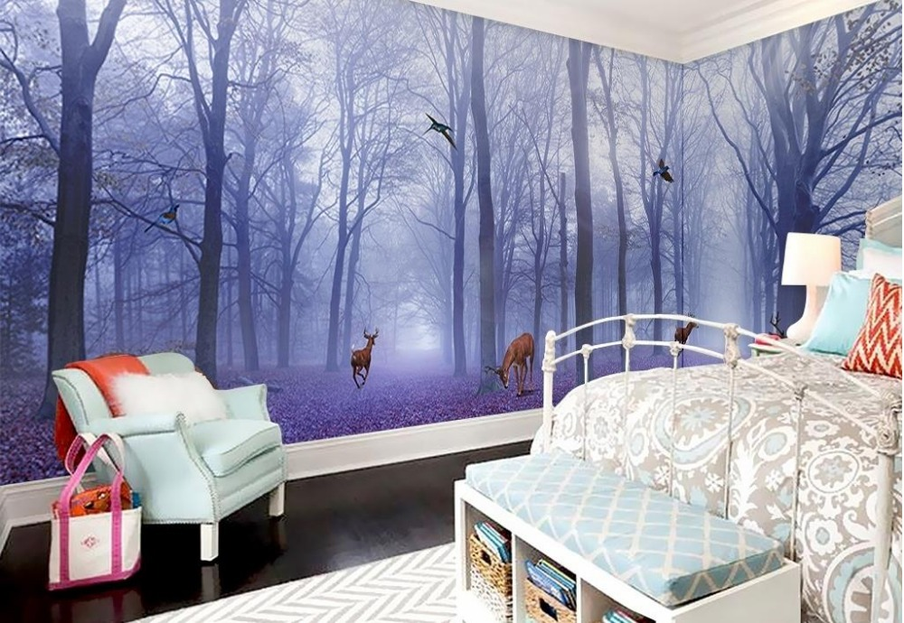Customize 3d wallpaper walls purple forest elk full 3d for Wall papers for rooms