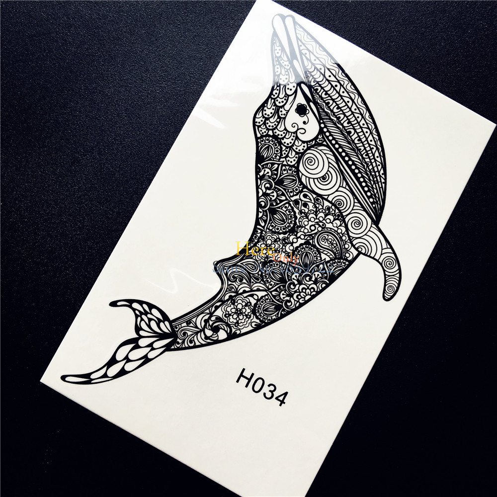 indian henna fish dolphin whale temporary tattoo sticker black mehndi flower arm tatoo for women. Black Bedroom Furniture Sets. Home Design Ideas