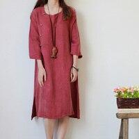 Cotton Linen Dress 2015 Women Loose Slim Dress O Neck Knitting Casual Long Dresses For Easing