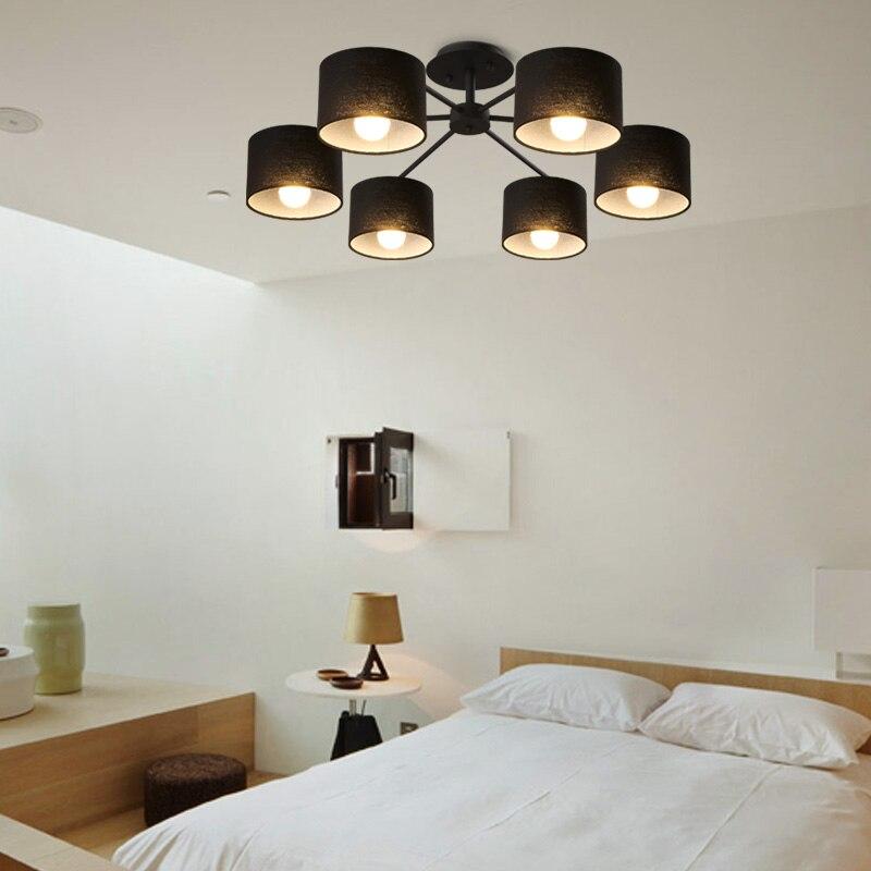 Vintage 6 heads stof schaduw inbouw plafondlamp slaapkamer ...