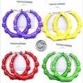 2017 Aros Super Color Fluorescente de Bambú stud Pendientes boucle d'oreille pendientes mujer moda aretes de mujer sieraden