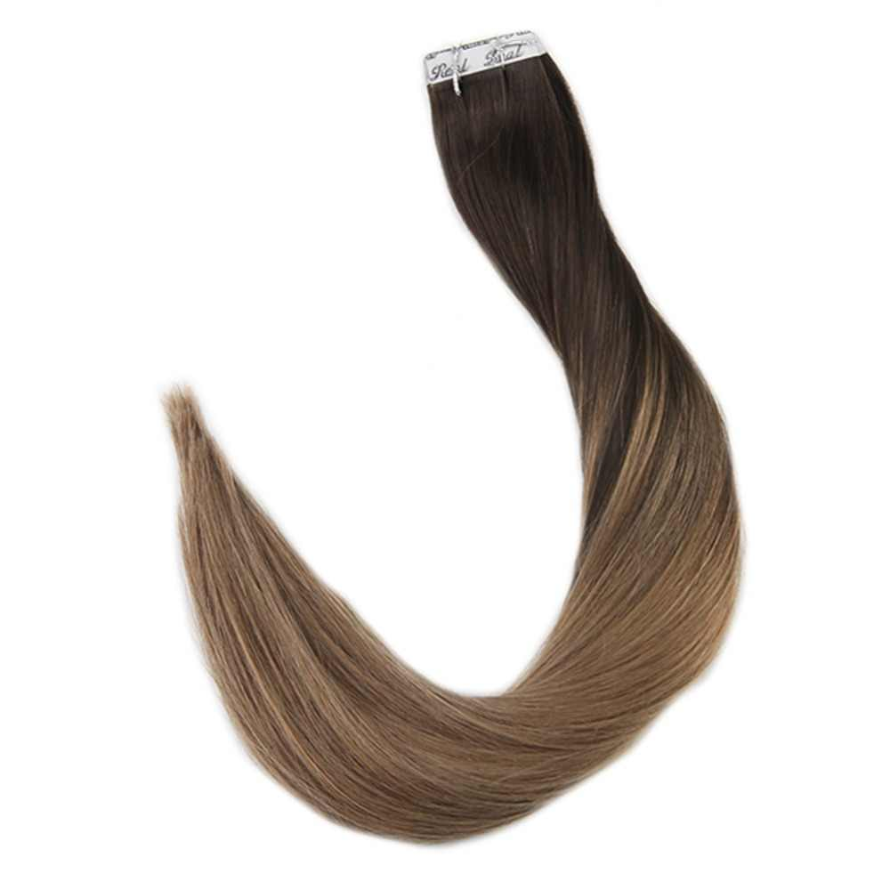 Full Shine Tape in Hair Balayage Color 100% Remy Human Hair Extensions 20 Pcs 50g Per Package Seamless Tape on Hair Glue on Hair