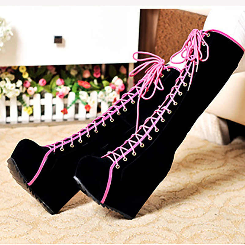 97ebe78fce70 ... Winter Boots Women High Heels Boots Lace Up Platform Wedges Round Toe  Punk Rock Goth Boots