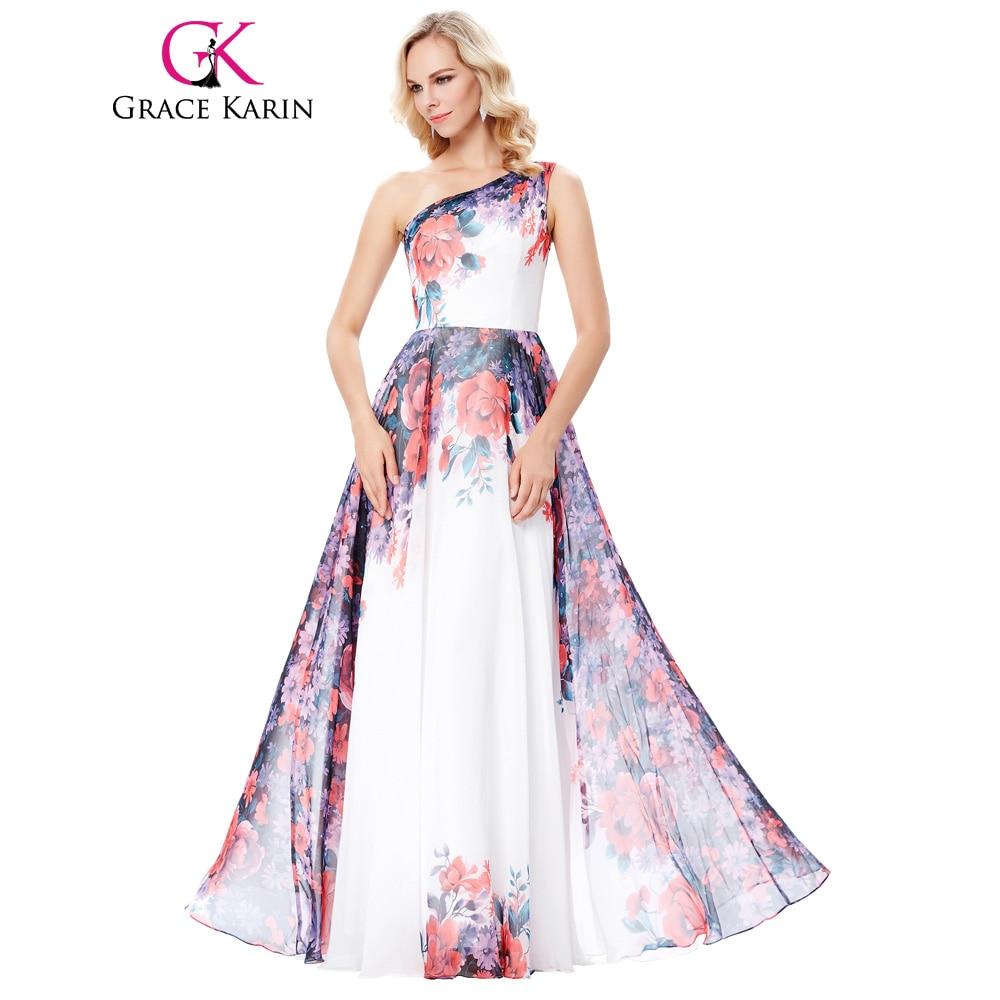 Grace Karin Floral Evening Dress 2018 New Arrival One Shoulder ...