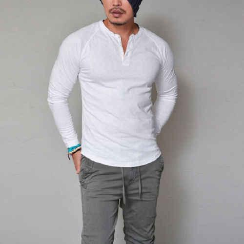 2019 Fashion Mens Slim Fit Met Lange Mouwen T-shirts Stijlvolle Luxe Mannen V-hals Katoenen T-shirt Tops Tee Plus Size s-XXXL