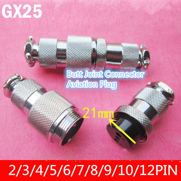 1PCS AP029 GX25 2/3/4/5/6/7/8/9/10/12 Pin 25mm Male & Female Butt Joint Connector Aviation Plug DF25 Circular Socket+Plug M25 ac 250v 15a 25mm dustproof metal male female aviation plug connector joint free shipping