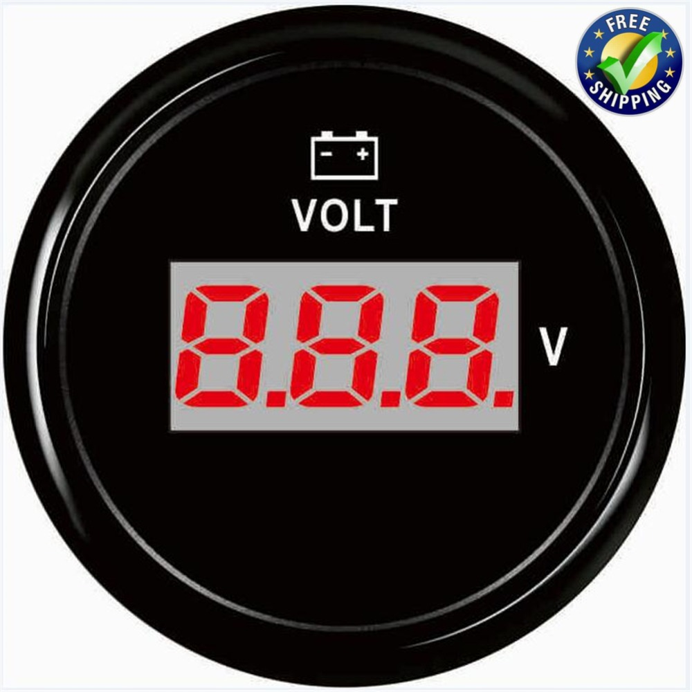 Marine Volt Meters 8-32v Input Signal 52mm Digital Voltage Gauges Waterproof for Auto Truck Boat Agricultural Machinery Engines