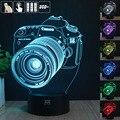 H Y Canon Câmeras 3D Humor Lâmpada Night Light RGB Mutável LED decorativo candeeiro de mesa de luz dc 5 v usb obter um free controle remoto