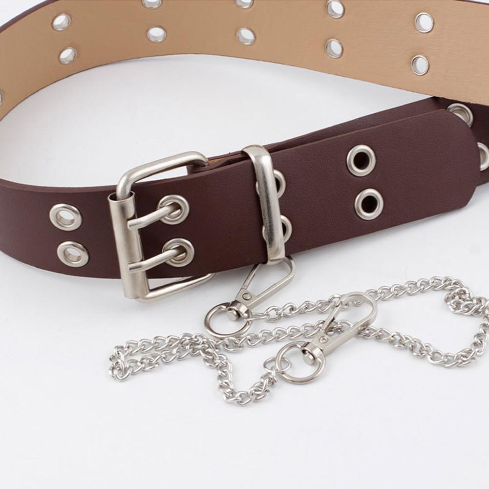 Cintura A Catena Moda Punk Cintura A Occhiello Regolabile Fibbia in Pelle Cintura per Uomo Donna Nero 100CM