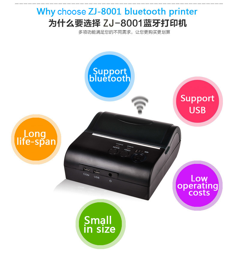 80mm Portable Thermal Receipt Printers Android 4.2.2 Bluetooth 4.0 Mini Mobile Printer Compatible With ESC/POS/STAR
