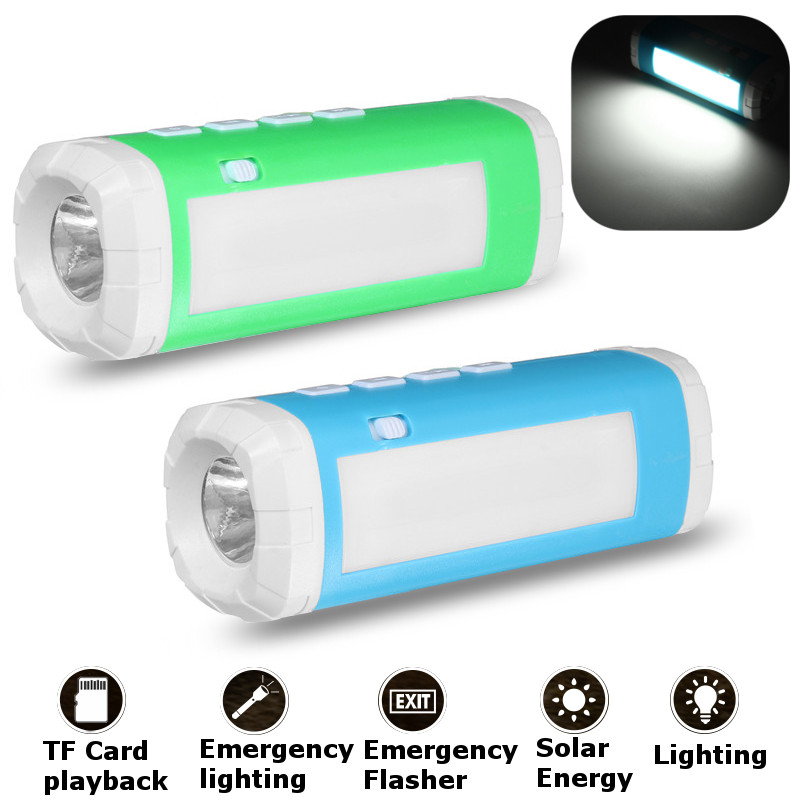 Wireless Solar Powered TF Card Speaker USB LED Speaker Flashlight Lamp Light Outdoor Camping Riding Lantern