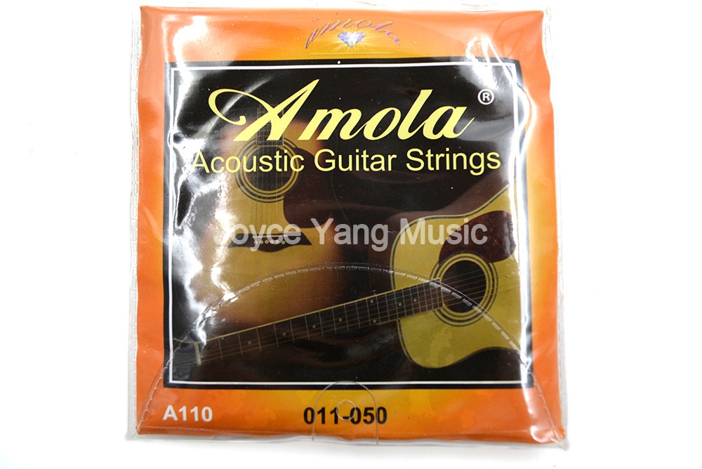 Amola A110 Acoustic Guitar Strings 1st-6th Steel Strings Phosphor Bronze 011-050 Light Gauge Free Shipping