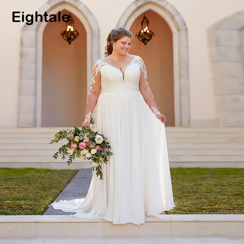 Eightale Plus Size Wedding Dresses V Neck Appliques Lace Wedding Gowns Long Sleeve Boho Backless Bridal