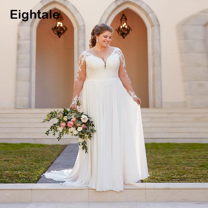 Hot Offer Eightale Plus Size Wedding Dresses V Neck