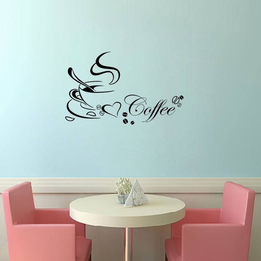 Fashion Coffee Cup Mural Art Decals Kitchen CAFE Wall Sticker ...