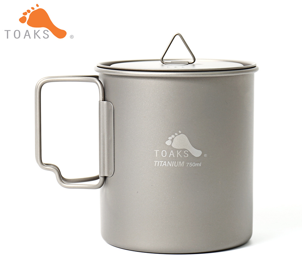 TOAKS POT-750 Pure Titanium Cup Ultralight Outdoor Mug with Lid and Foldable Handle Camping Cookware 750ml 103g