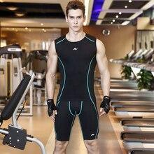 Летние мужские футболки без рукавов, штаны, компрессионный комплект, спортивный костюм, облегающие леггинсы для бега