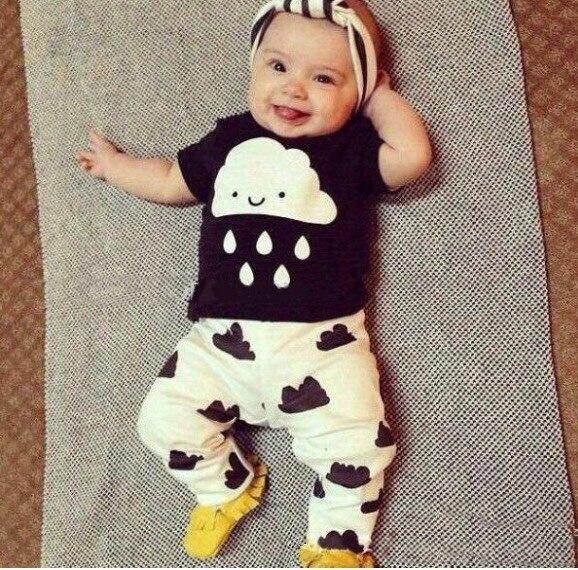 0-24 M Yaz Yenidoğan Toddler Bebek Erkek Giysileri Set Bebek Kız Giysileri pamuk Bebek Erkek Kıyafetler Bulut ve Yağmur T Gömlek Ve Pantolon