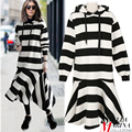 2017 coreano moda mulheres black white striped dress completo manga reta meados de bezerro comprimento tamanho streetwear hoodie dress 2084
