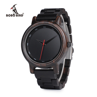 BOBO BIRD WP10 Ebony Wood Watch For Men Casual Calibration Circle Wooden Band New Quartz Watches