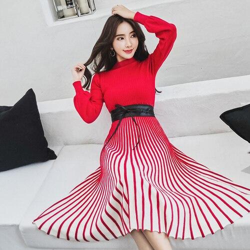 Otoño Vestido Black rojo Moda Remiendo Raya Del Manga Y De Calidad Tulle Mujeres Knit rosado Larga Punto Invierno Alta La Nueva 2018 Turtleneck SBdRxqYwq