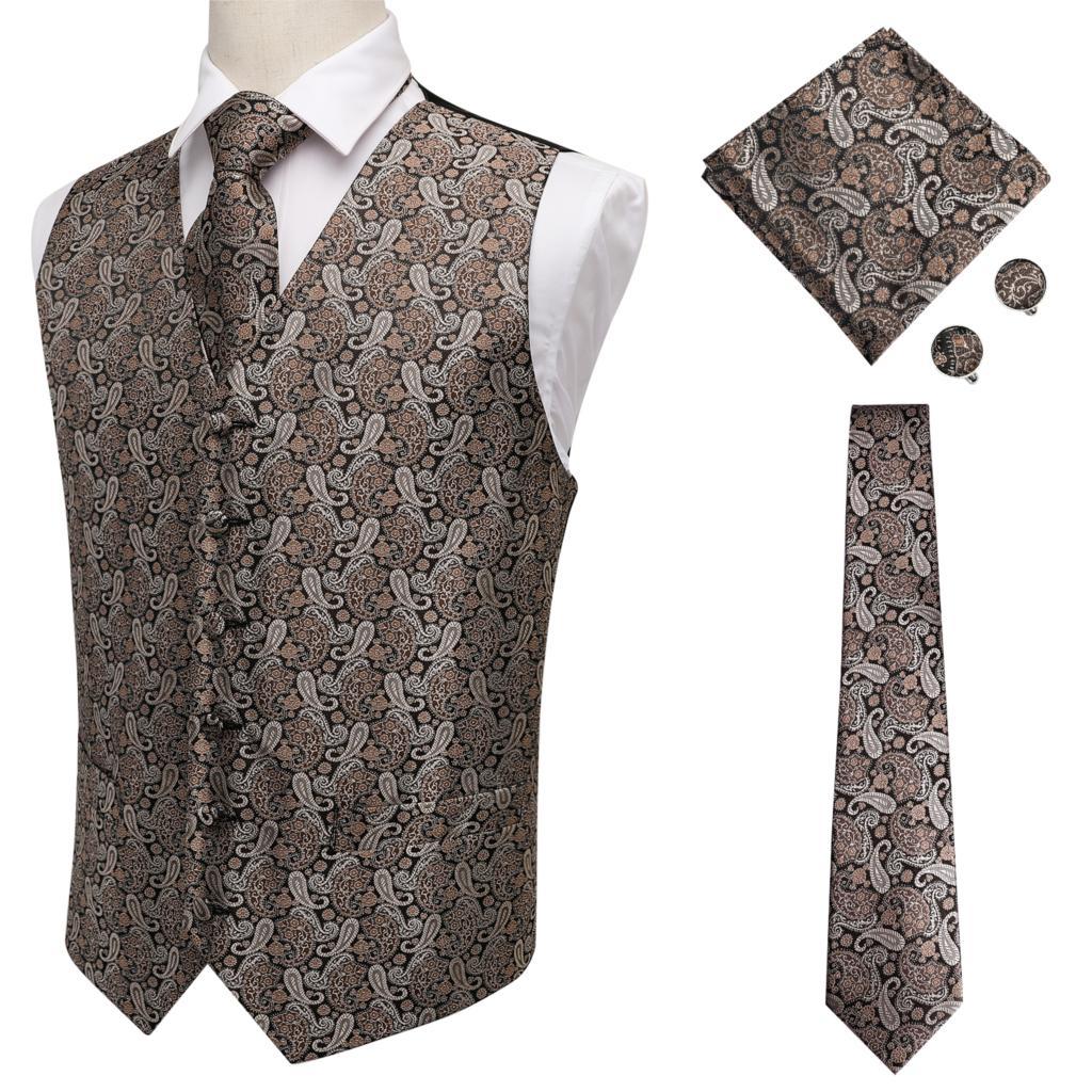 Hi-Tie Mens Suit Vest Sleeveless Male Waistcoat Slim Vest Waistcoat Business Wedding Classic Masculino Social Blazer MJ-0007