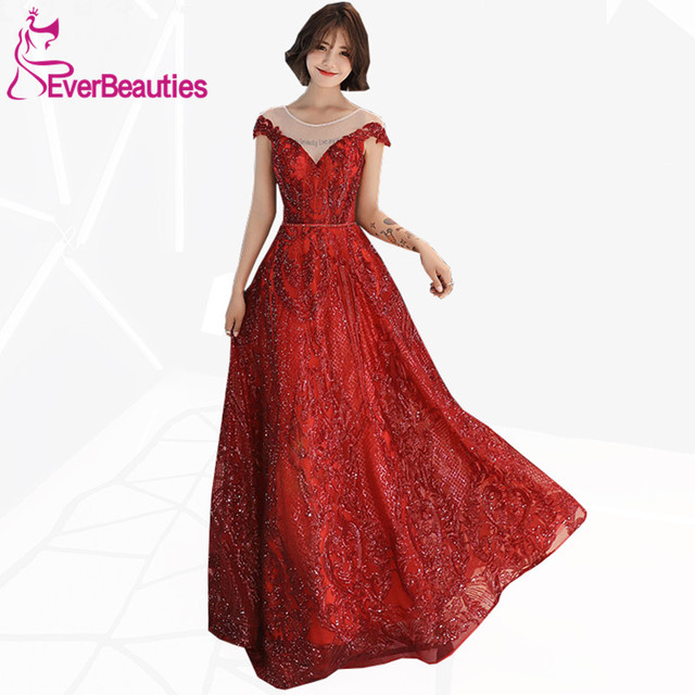 952387130c11 Wine Red Evening Dress Long 2019 Sequins Off Shoulder Elegant Long Prom  Party Dresses Robe De Soiree Evening Gowns