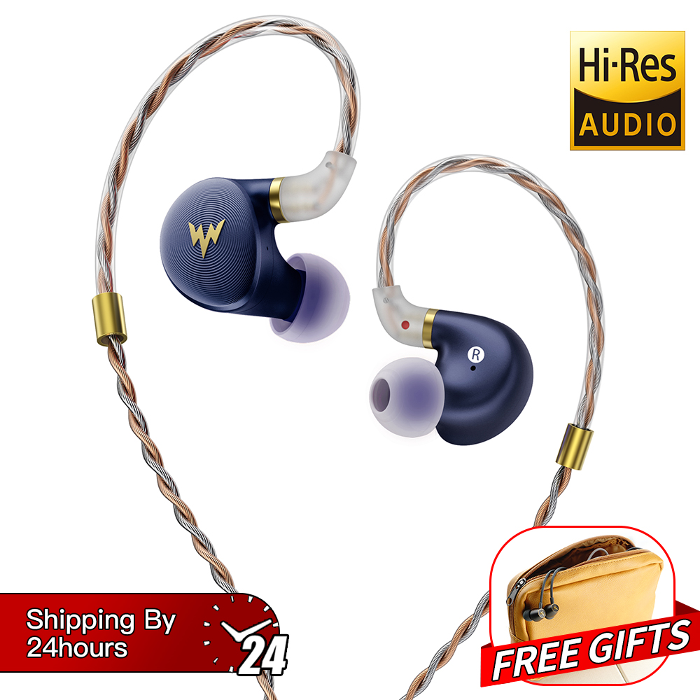 Whizzer A HE03 HiFi Bass Earphones Hi Res Headsets Hybrid Armature 2Pin Connector 3 5mm In