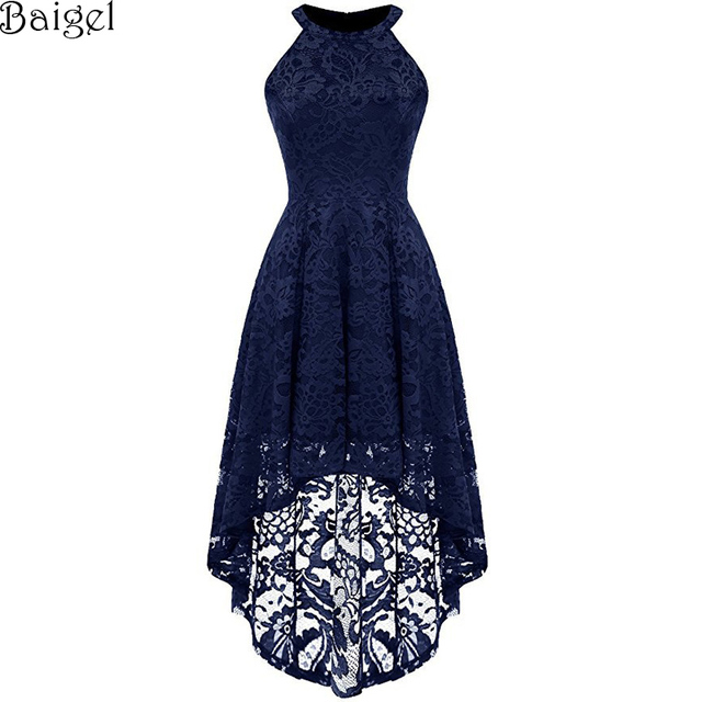 Women Floral Lace Dress Sleeveless Halter Asymmetrical Sexy Nightclub Dress  Celebrity Evening Party Dress robe femme ete 2018