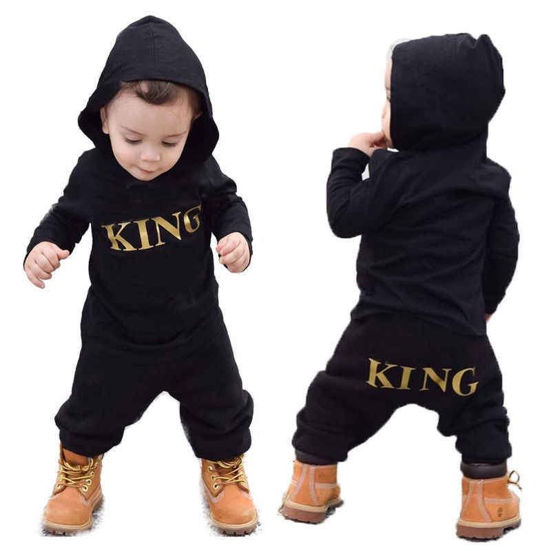 42078a8dba0 0-24M Newborn Baby Boy King Hooded Romper Jumpsuit Tracksuit Outfits Baby  Clothes